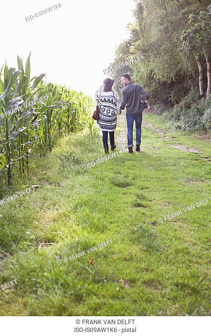 Rear view of couple strolling in field holding hands