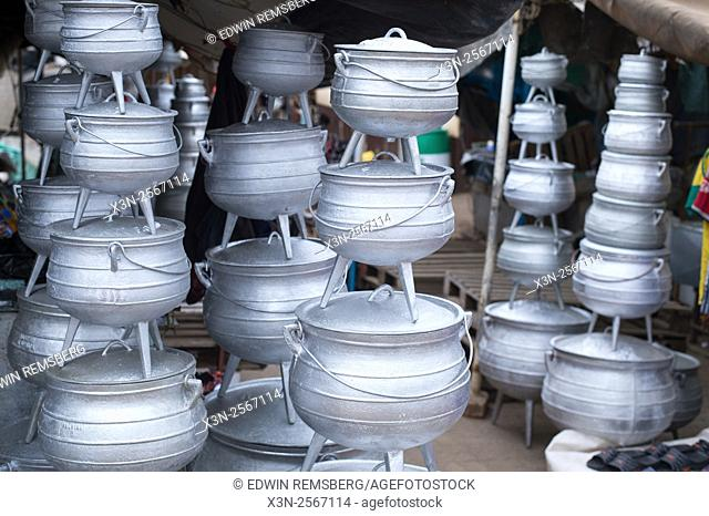 Potjie Pots for sale at the Manzini Wholesale Produce and Craft Market in Swaziland, Africa