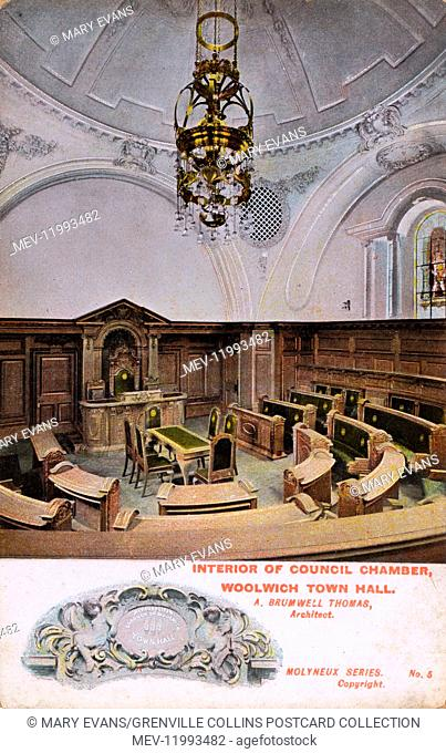 Woolwich Town Hall, SE London - Interior of the Council Chamber - Architect: A Brumwell Thomas