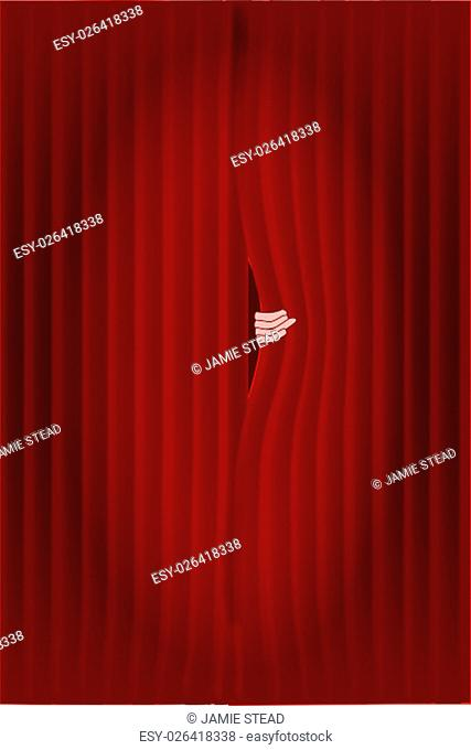 Dark red curtains with a spotlight being puuled slightly open by a hand