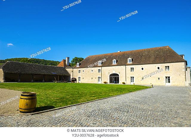 Castle and Stable - Château de Chailly-Sur-Armançonin - in a Sunny Day in Burgundy, France