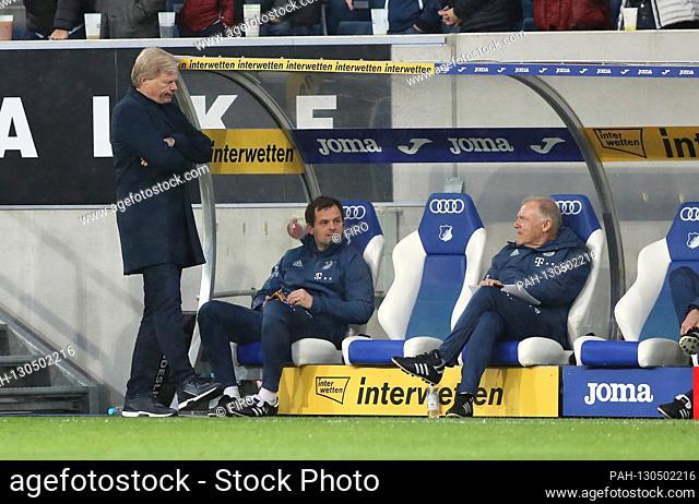 firo: 29.02.2020 Football, Soccer: 1. Bundesliga, season 2019/2020 TSG Hoffenheim - FCB FC Bayern Munich Muenchen FCB Management Oliver Kahn, FCB Co-coach