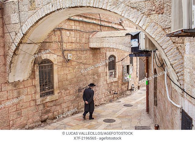 Orthodox Jews, Mea Shearim quarter, Jerusalem, Israel
