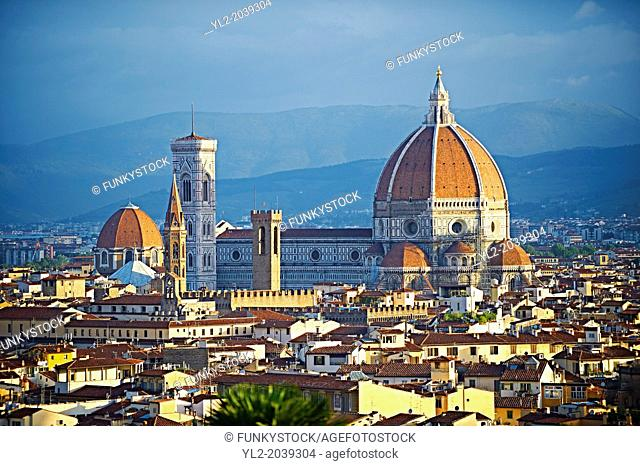 Rooftop view of the Gothic-Renaissance Duomo of Florence, Basilica of Saint Mary of the Flower; Firenza ( Basilica di Santa Maria del Fiore ) built between 1293...