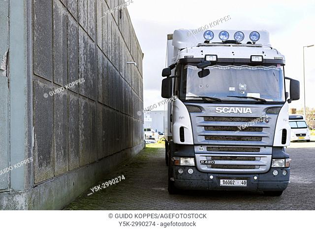 Rotterdam, Netherlands. Macedonian truck waiting for new cargo at Merwehaven Fruit Terminal. Port of Rotterdam is one of the major ports of North-West Europe