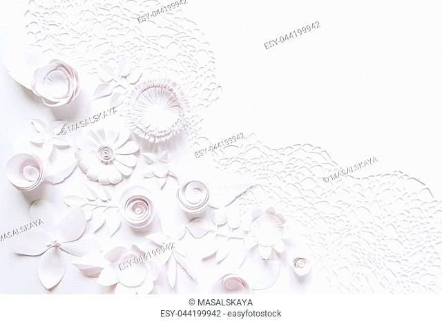 laser cutting, Handmade cut of paper. Floral composition with white paper flower on white background