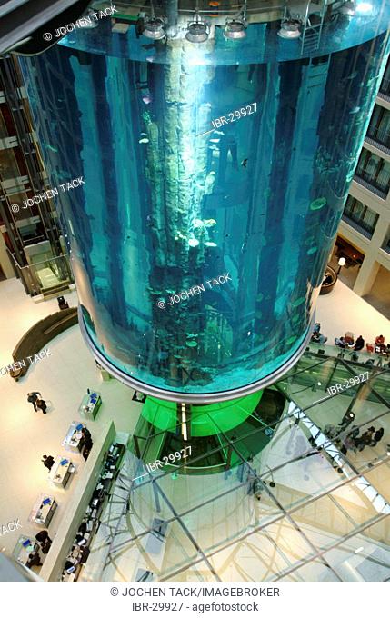 DEU, Germany, Berlin : Aquarium in the lobby of the Radisson SAS Hotel. Visitor can view the sealife from the inside the 14 meter hight basin, by using a lift