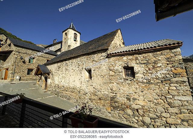 Iglesia parroquial del siglo XVIII, Aneto , municipio de Montanuy, Ribagorza, provincia de Huesca, Aragón, cordillera de los Pirineos, Spain
