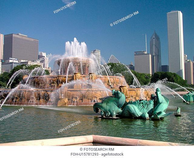 Chicago, IL, Illinois, Windy City, Downtown, Grant Park, Buckingham Memorial Fountain