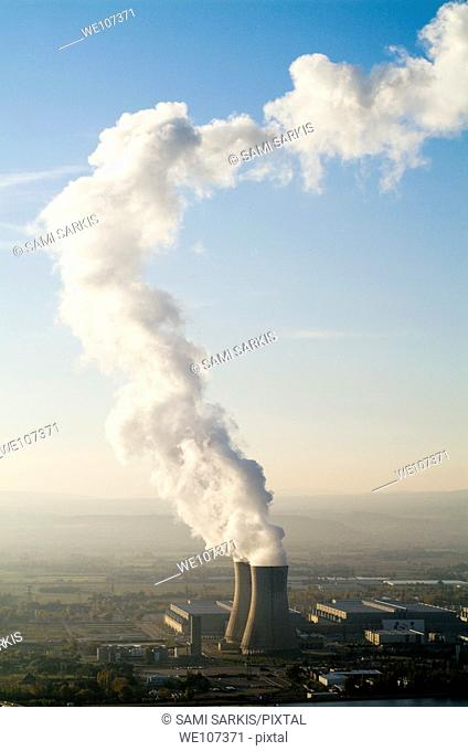 Smoke emitting from cooling towers of Tricastin Nuclear Power Plant, Rhone River Valley, Drome, France