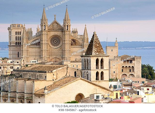 Palma Cathedral La Seo, XIV-XVI century, Church of The Holy Cross, XIV century, seaside neighborhood of Puig de Sant Pere, Palma, Mallorca, Balearic Islands