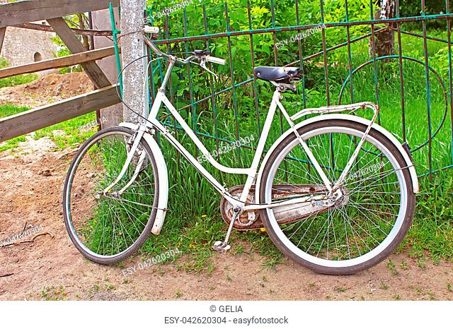 White bicycle in the village