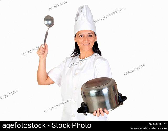 Pretty cook girl hitting a pot