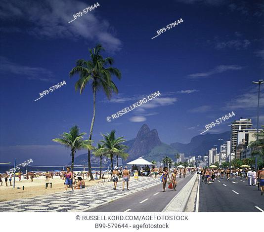 Street Scene, Promenade, Ipanema Beach, Rio De Janeiro, Brazil