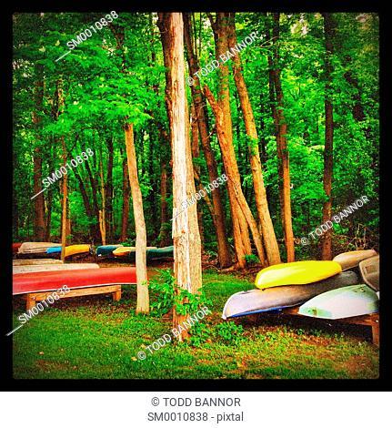 Canoes on canoe rack. Michigan USA