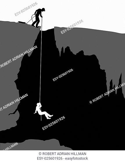 Editable vector illustration of cavers exploring a cave