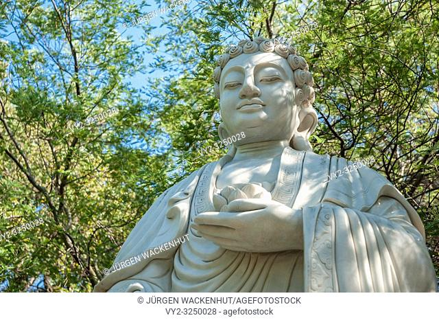 Figure of the Buddha in the park of Pagoda Hong Hien, Frejus, Var, Provence-Alpes-Cote d`Azur, France, Europe