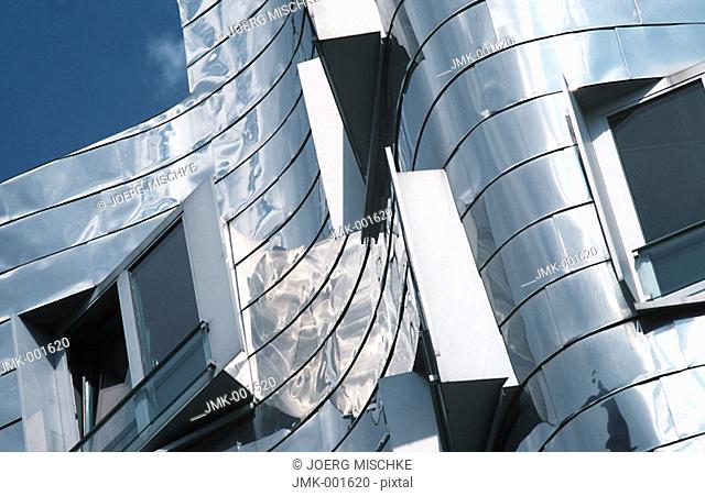 A modern office block, office building, dynamic architecture, high-grade steel facade