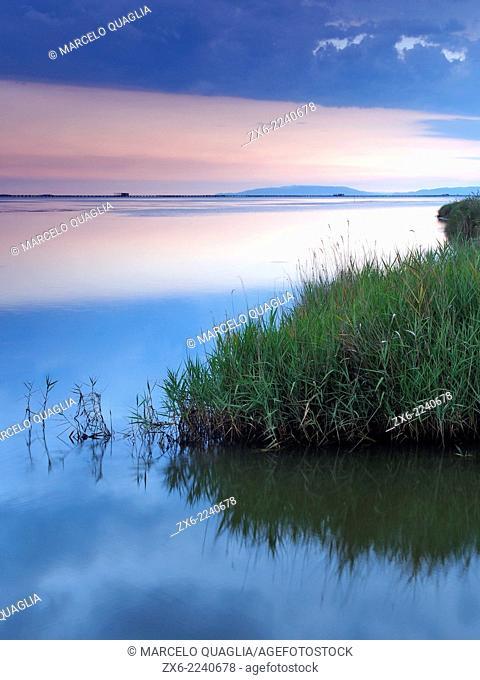 Cloudy evening over Alfacs Bay. Ebro River Delta Natural Park, Tarragona province, Catalonia, Spain