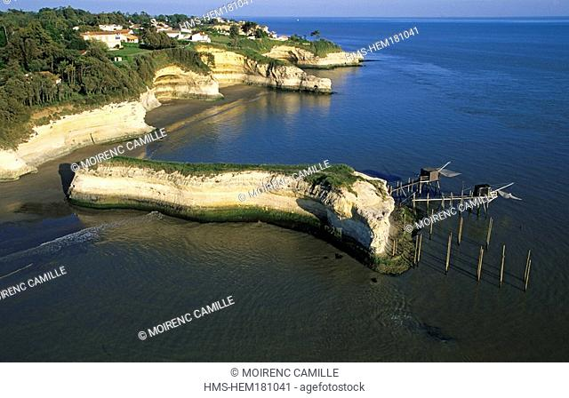 France, Charente Maritime, coast towards Meschers sur Gironde on Gironde Estuary aerial view