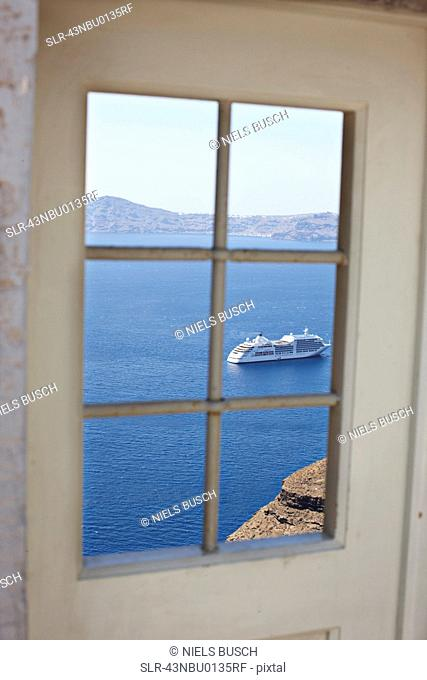 Cruise ship viewed from window