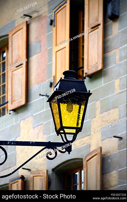 Facade with shutters and lantern, historic part of Nyon, canton Vaud, VD, Romandy, Romandie, Switzerland, Europe
