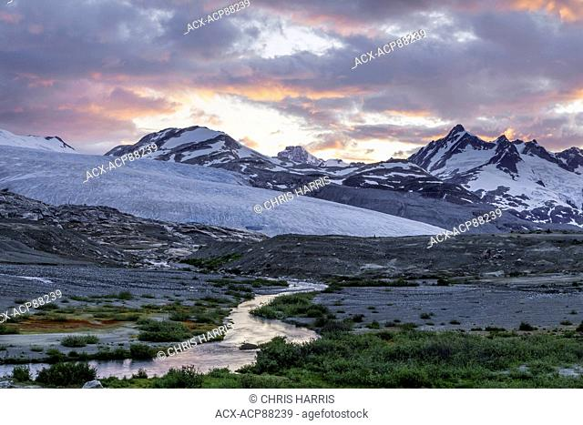 British Columbia, Canada, Chilcotin region, moraine landscape, receeding glacier, Ape Creek, Coast Mountains, sunset