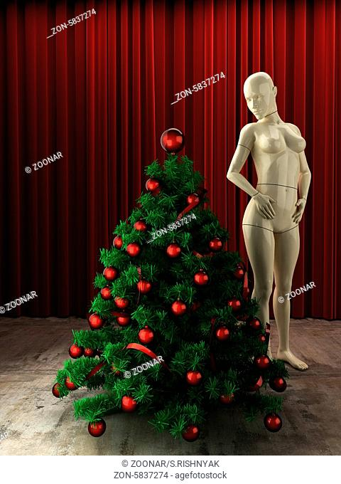 christmas tree and mannequin at red curtain stage