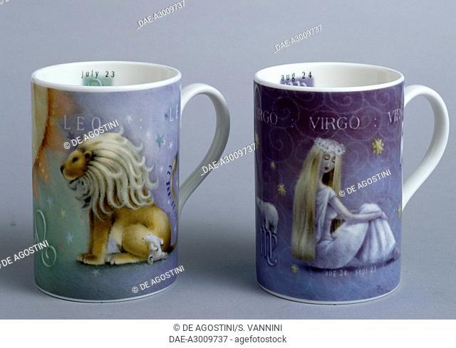 Zodiac mugs, Leo and Virgo, Rob Scotton series, ceramic, Portmeirion Potteries manufacture, Stoke-on-Trent, England, 20th century