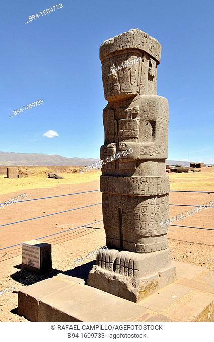 Tiwanaku, (Spanish: Tiahuanaco and Tiahuanacu) is an important Pre-Columbian archaeological site in western Bolivia. Ponce stela in the sunken courtyard of the...