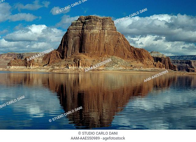 Tower Butte on Lake Powell, Navajo Res., AZ-Utah. reflection