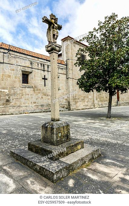 Monforte de Lemos, the stone cross in a place is a typical Galician monument. Spain