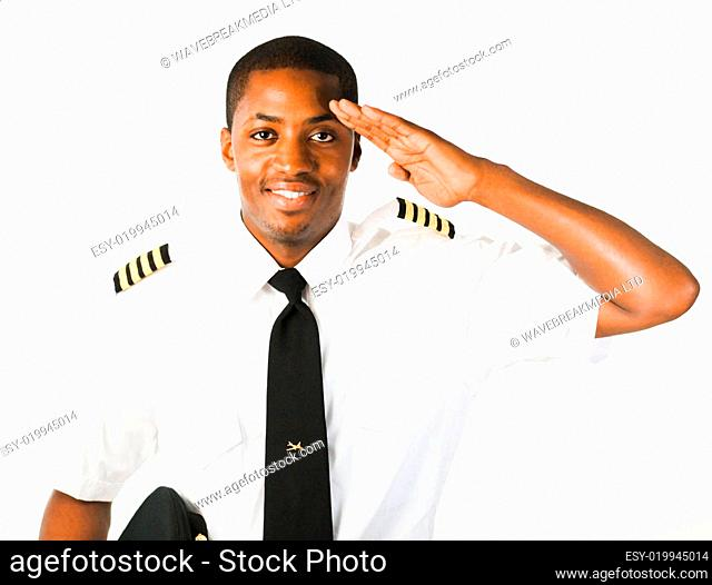 young Pilot isolated on white