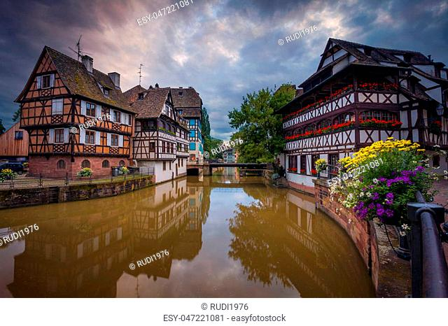 Image of Strasbourg old town during dramatic sunset