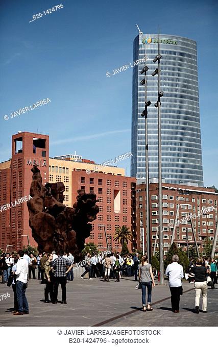 Square of Palacio Euskalduna with Hotel Melia and Iberdrola Tower in background, Bilbao, Bizkaia, Euskadi, Spain