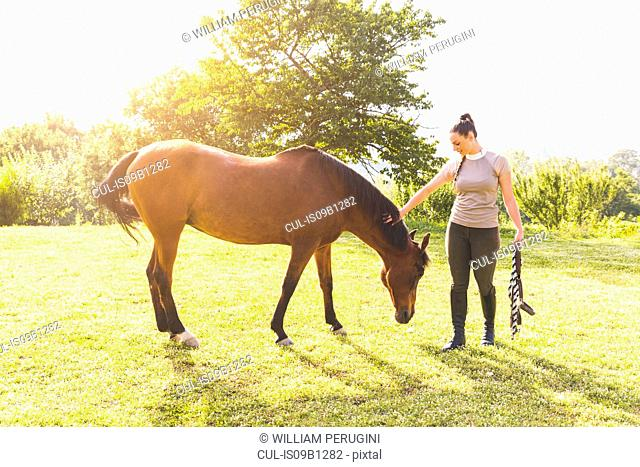 Woman in field with horse holding tether