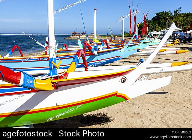 Traditional Jukung Boats On Sanur Beach, Bali, Indonesia