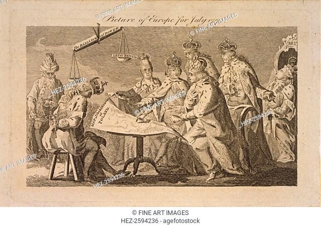 Picture of Europe for July 1772, 1772. From a private collection