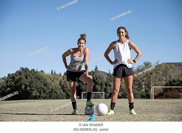Women on football pitch