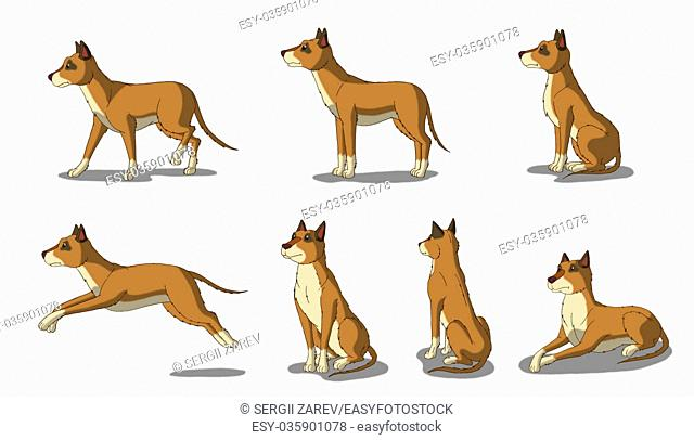 Set of Brown Dog images. Digital painting full color cartoon style illustration isolated on white background