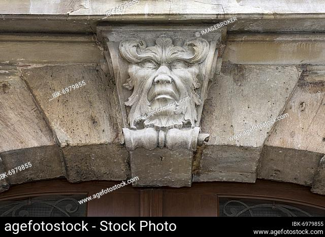 Fantasy sculpture above the archway of the former Posthalterhof and Gasthof zum Brandenburger Haus, built in 1703, Ansbach, Middle Franconia, Bavaria, Germany