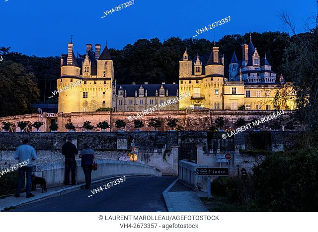 Sleeping Beauty Castle of Usse at Dusk, Overlooking the Indre River, with its Gardens Designed by Le Nôtre. Rigny-Usse, Chinon District, Indre-et-Loire