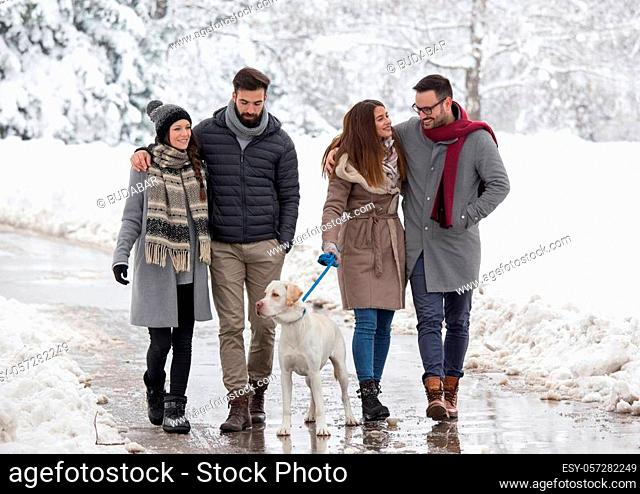 Two couples walking dog in park in winter time with lot of snow