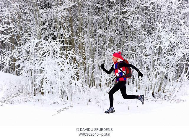 Jogging along a snowy winter landscape