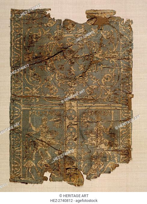 Silk Sleeve Decoration with Hunters, 700s. Creator: Unknown