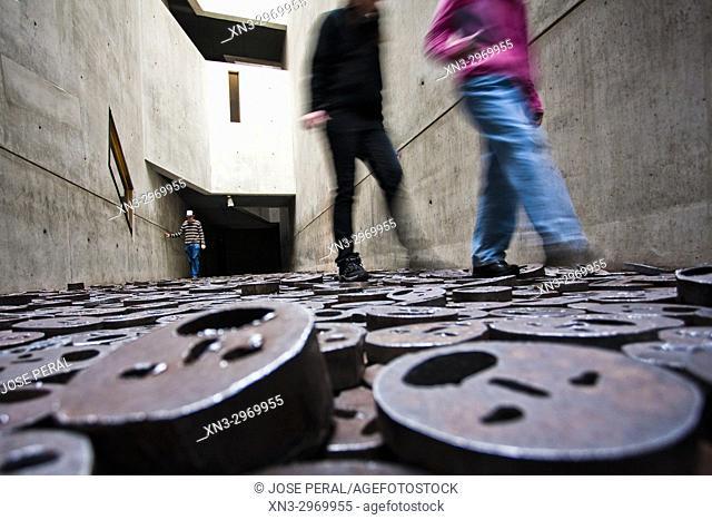 Shalekhet, Fallen Leaves, by Menashe Kadishman, Memory Void room, Jewish Museum, by Daniel Libeskind, Kreuzberg district, Berlin, Germany, Europe