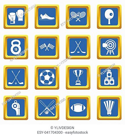 Sport equipment icons set in blue color isolated illustration for web and any design