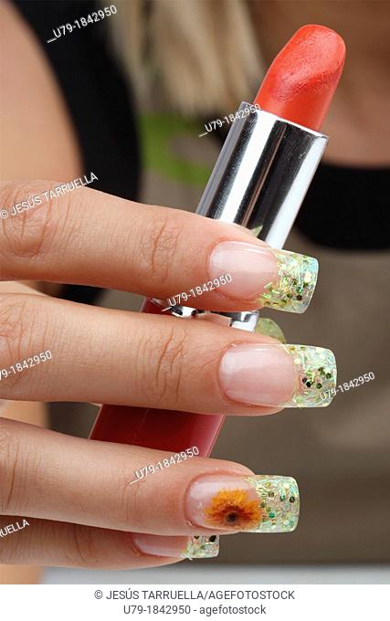 Manicure  Nails with floral makeup