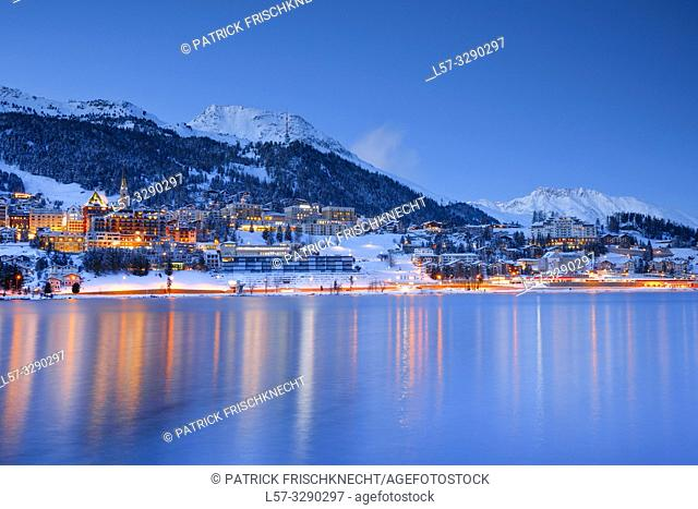 St. Moritz by night, Graubuenden, Switzerland