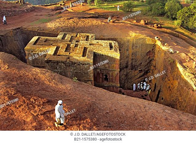 Ethiopian Christian Orthodox monolithic church of Beta Ghioghis at Lalibela, Ethiopia